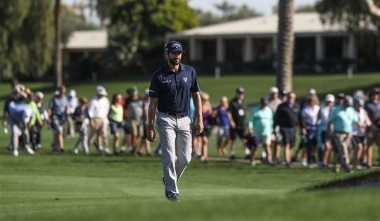 Adam Hadwin has a large gallery following his at La Quinta Country Club during the Desert Classic, January 18, 2019.