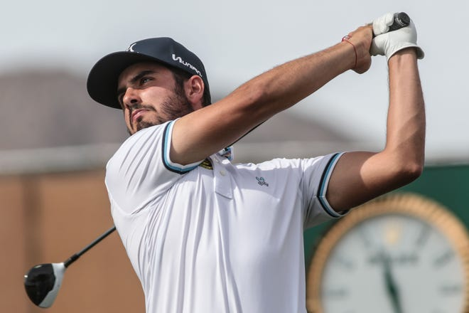 Abraham Ancer tees off on 10 on the Nicklaus Tournament Course at PGA West in La Quinta during the 2nd round of the Desert Classic on Friday, January 18, 2019.