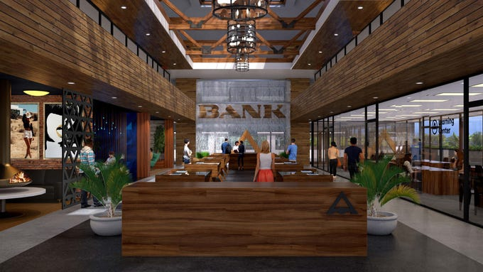 A rendering of a cannabis lounge planned for a former bank building in downtown Palm Springs.
