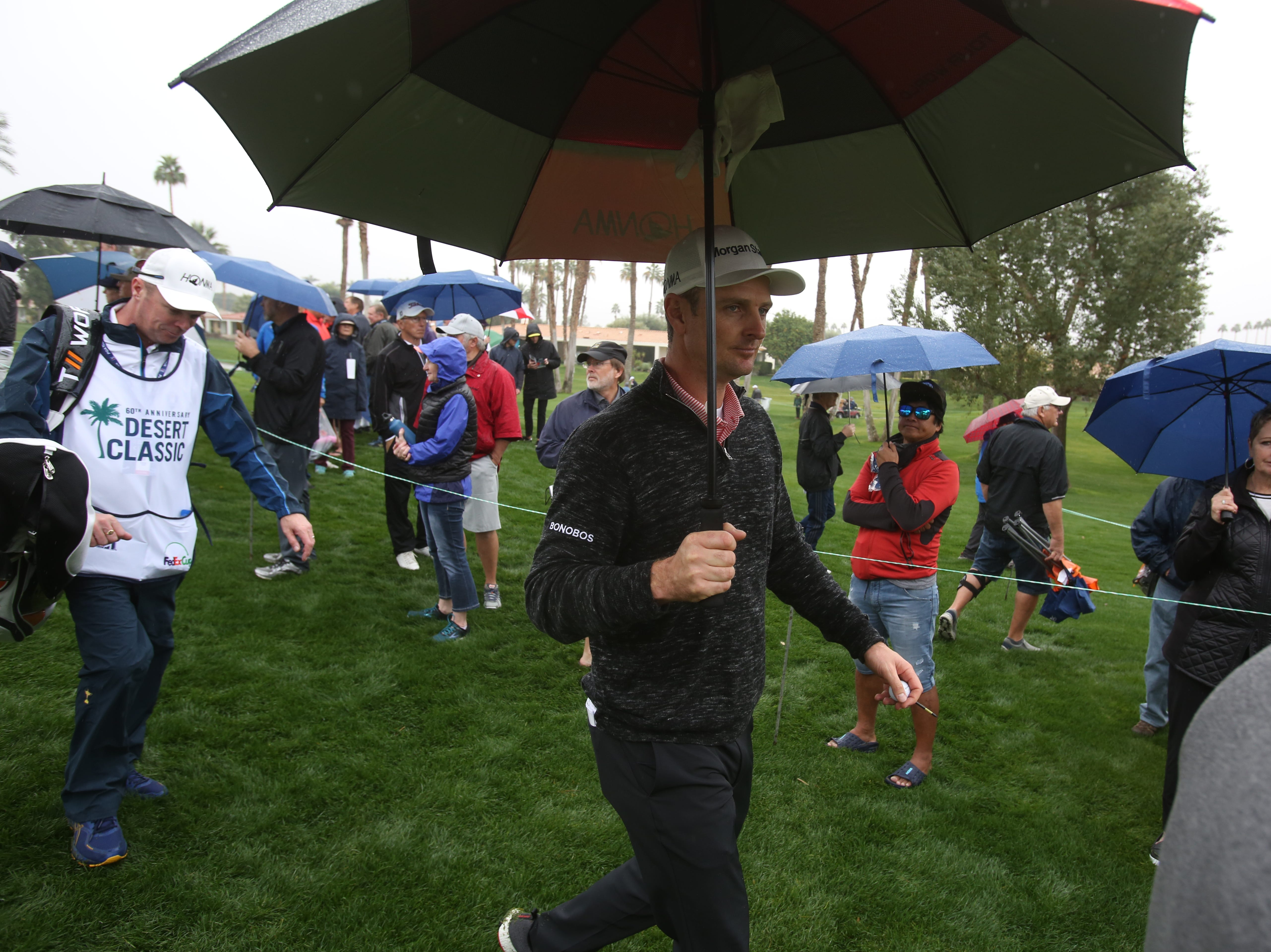 Justin Rose walks to 7 tee box at La Quinta County Club during the 1st round of the Desert Classic on Thursday, January 17, 2019.