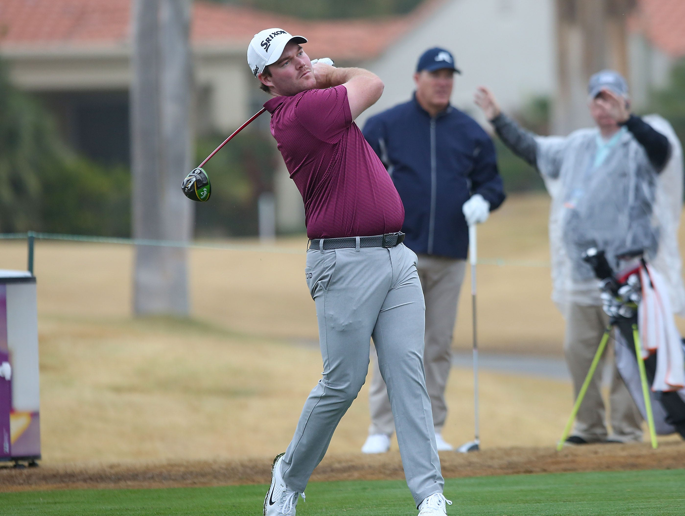 Grayson Murray tees off on the seventh hole of the Nicklaus Tournament Course at PGA West, January 17, 2019.