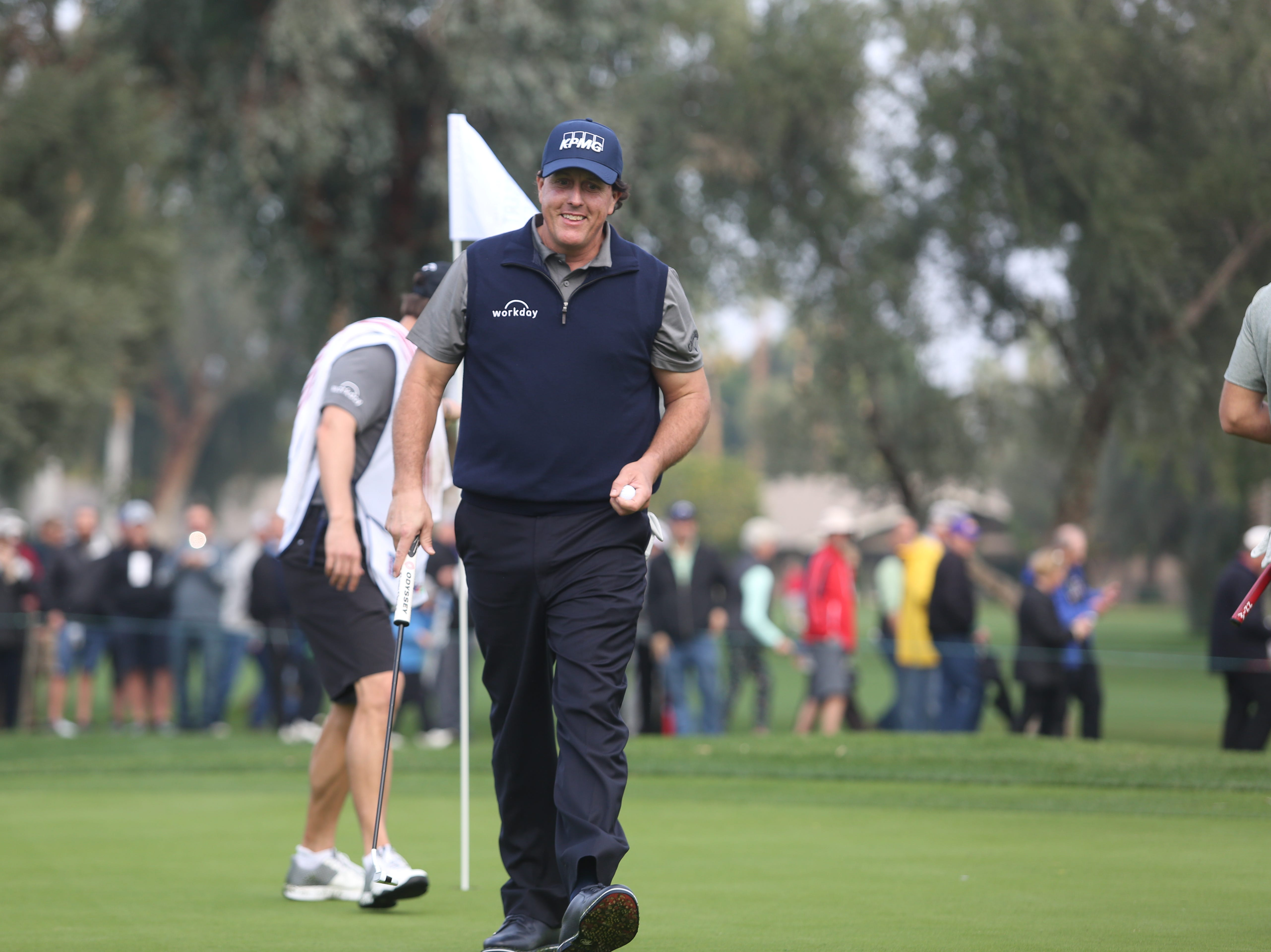 Phil Mickelson smiles after his birdie on 1 at La Quinta County Club during the 1st round of the Desert Classic on Thursday, January 17, 2019. Mickelson leads at the end of the day with 12 under.