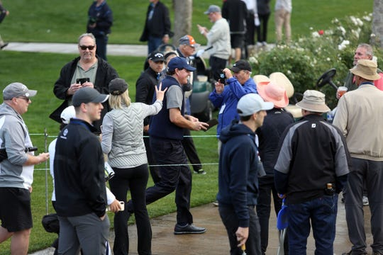 Phil Mickelson amongst fans at La Quinta County Club during the 1st round of the Desert Classic on Thursday, January 17, 2019. Mickelson leads at the end of the day with 12 under.