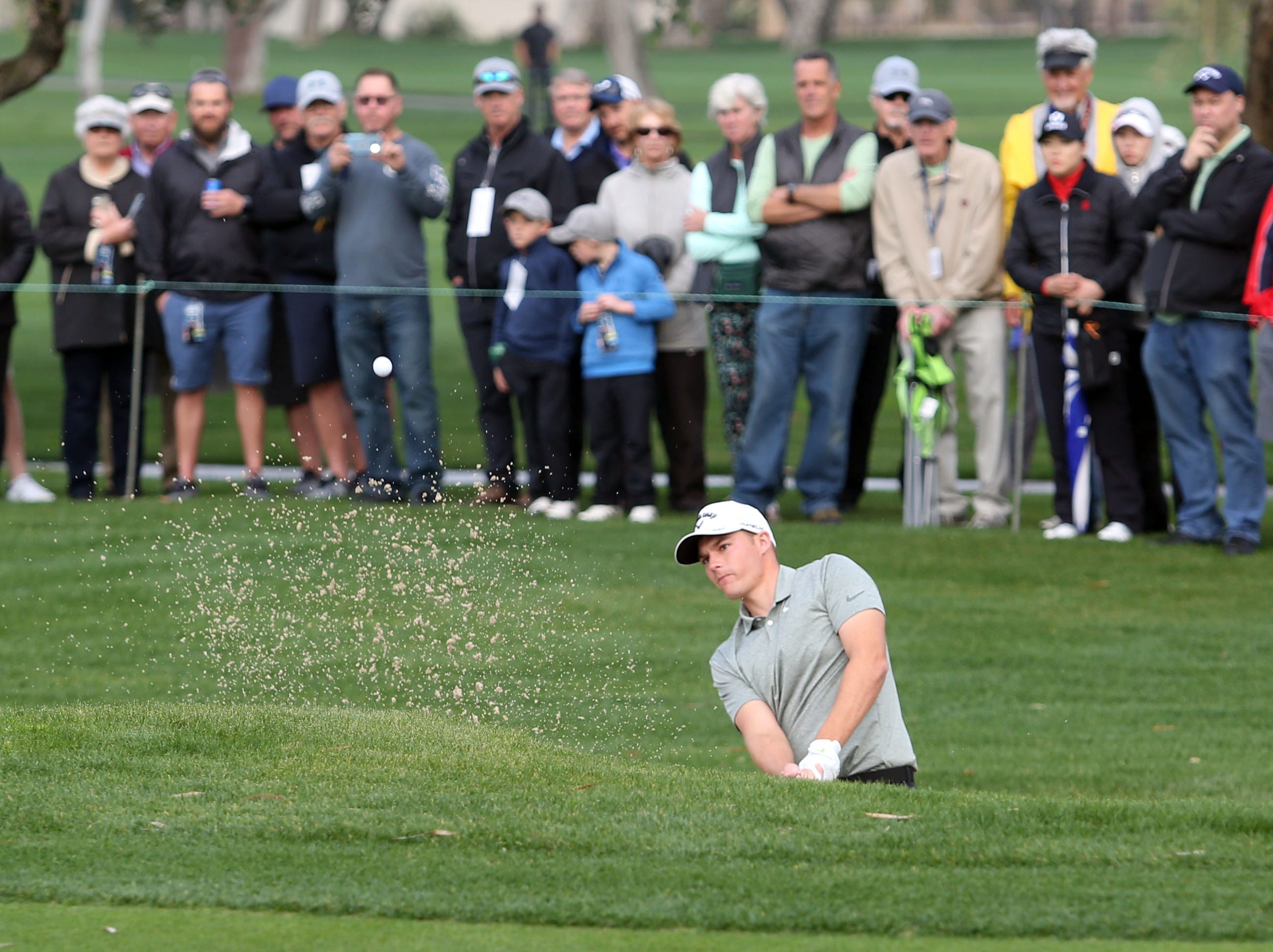 Aaron Wise in a bunker at La Quinta County Club during the 1st round of the Desert Classic on Thursday, January 17, 2019.