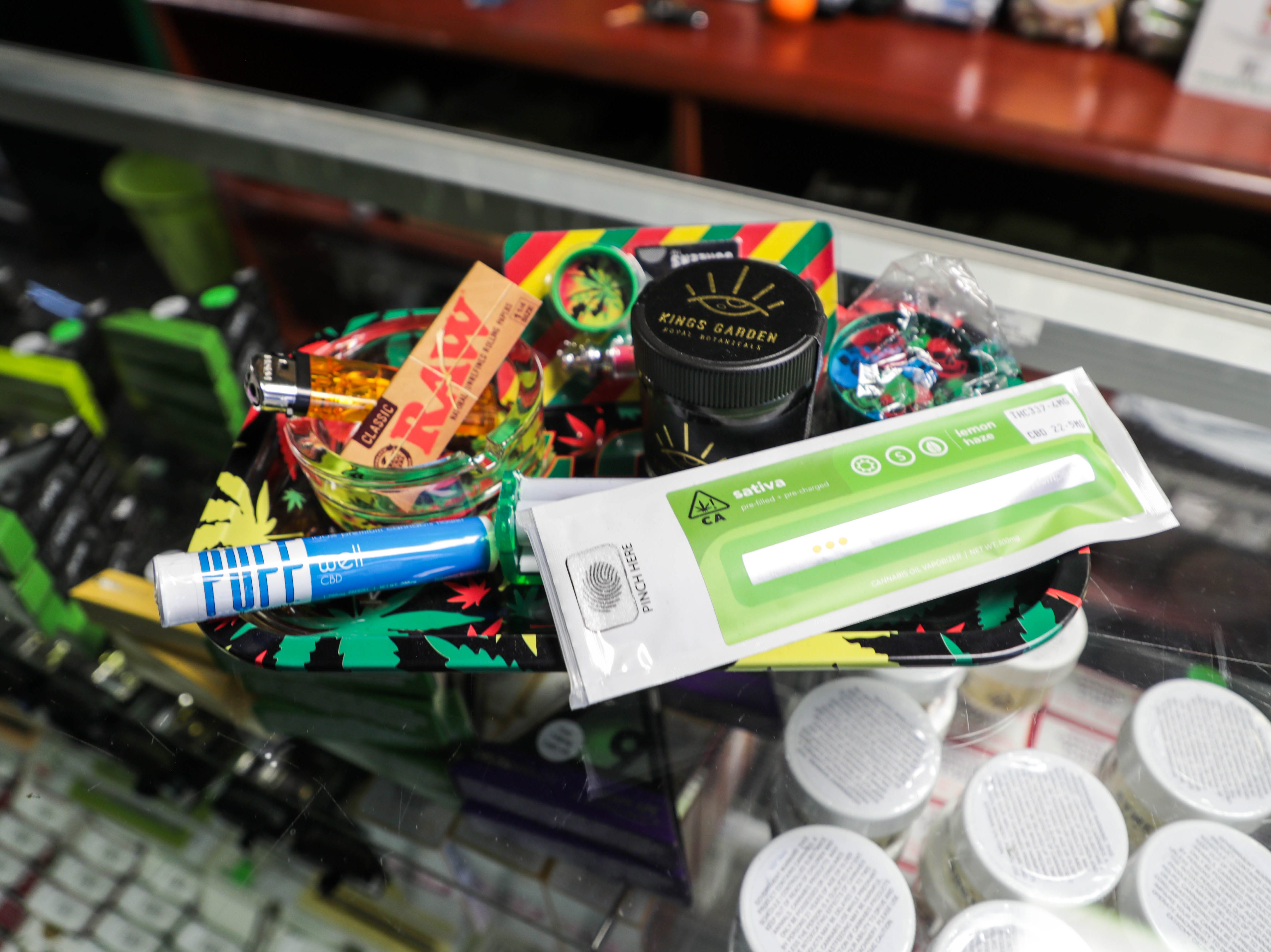 Marijuana products sit on the counter at The 420 Lounge on Thursday, January 17, 2019. The 420 Lounge is the first legal cannabis smoking lounge in Palm Springs, Calif.