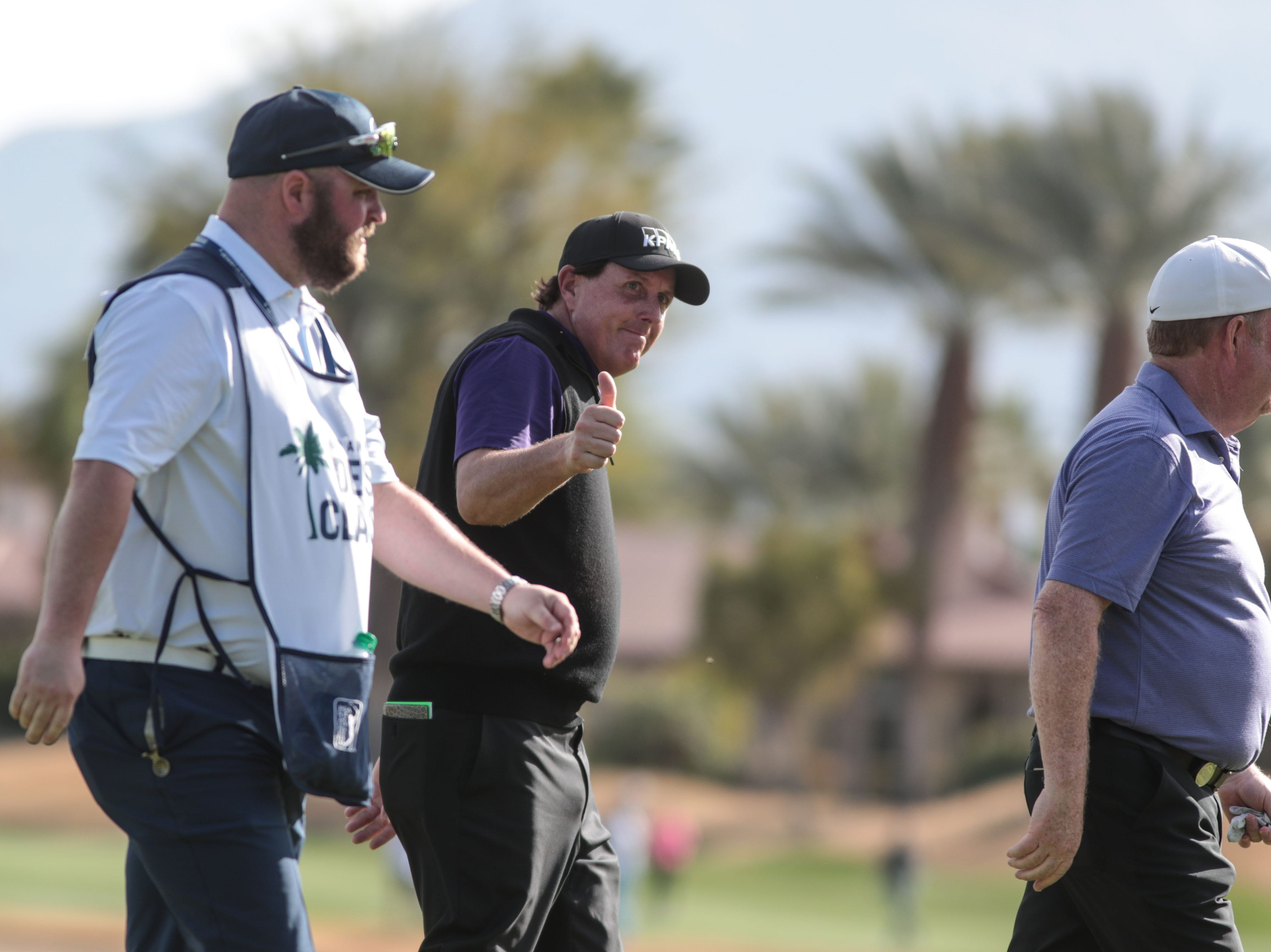 Phil Mickelson gives spectators the thumbs up on the Nicklaus Tournament Course at PGA West in La Quinta during the 2nd round of the Desert Classic on Friday, January 18, 2019. He finished his day 16 under so far for the tournament.