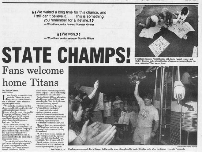 Woodham High boys soccer returns home after winning the 1991 state championship.