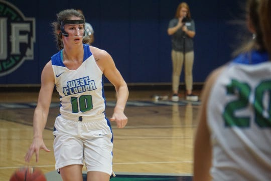 UWF senior point guard Anna Hall dribbles against Shorter on Jan. 17, 2019. Hall has posted three triple-doubles so far this season, third-best in all of NCAA women's basketball.