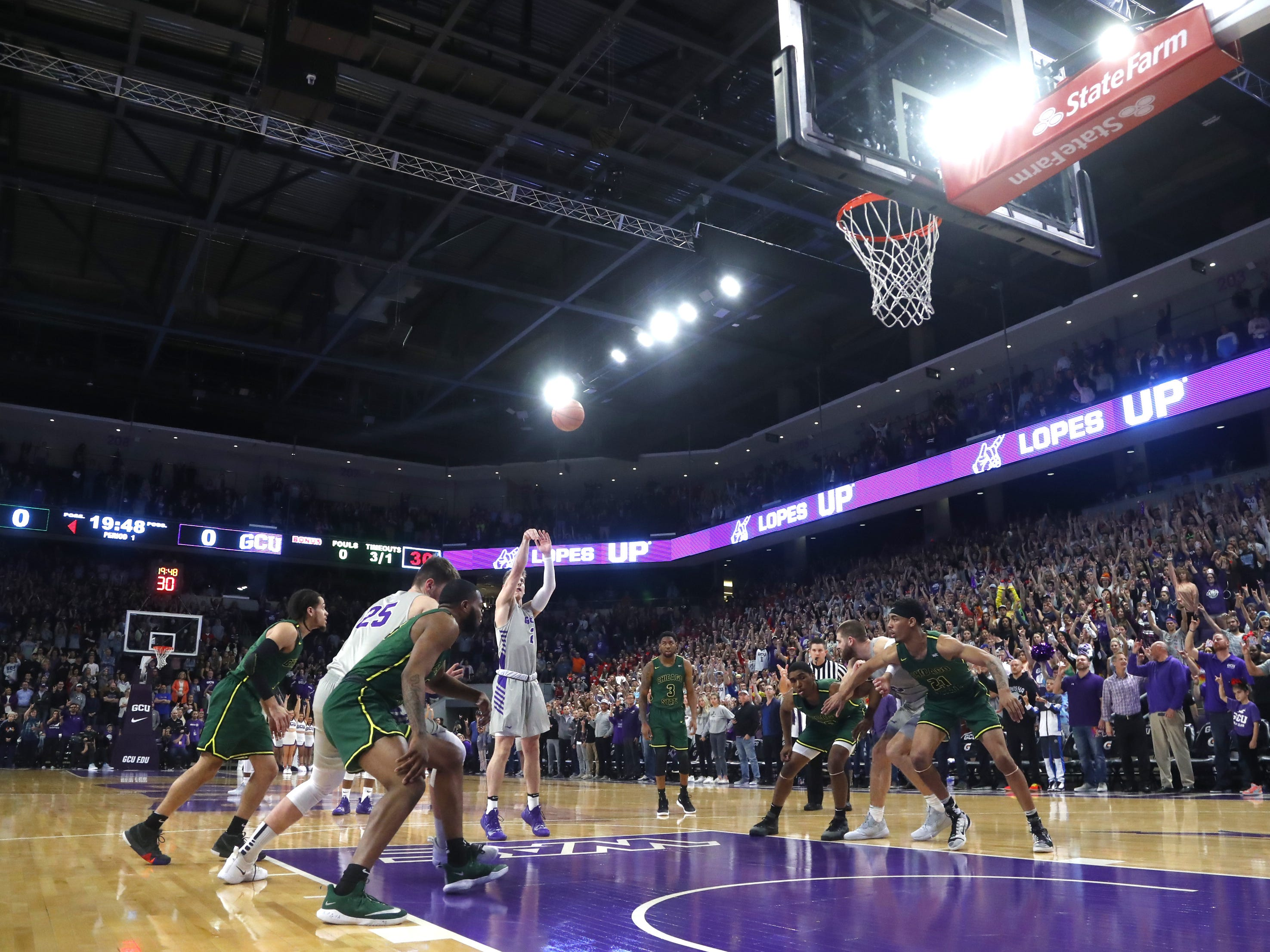 GCU's Trey Dreschel (2) shoots a free throw against Chicago State University during the first half at Grand Canyon University Arena in Phoenix, Ariz. on January 17, 2019.