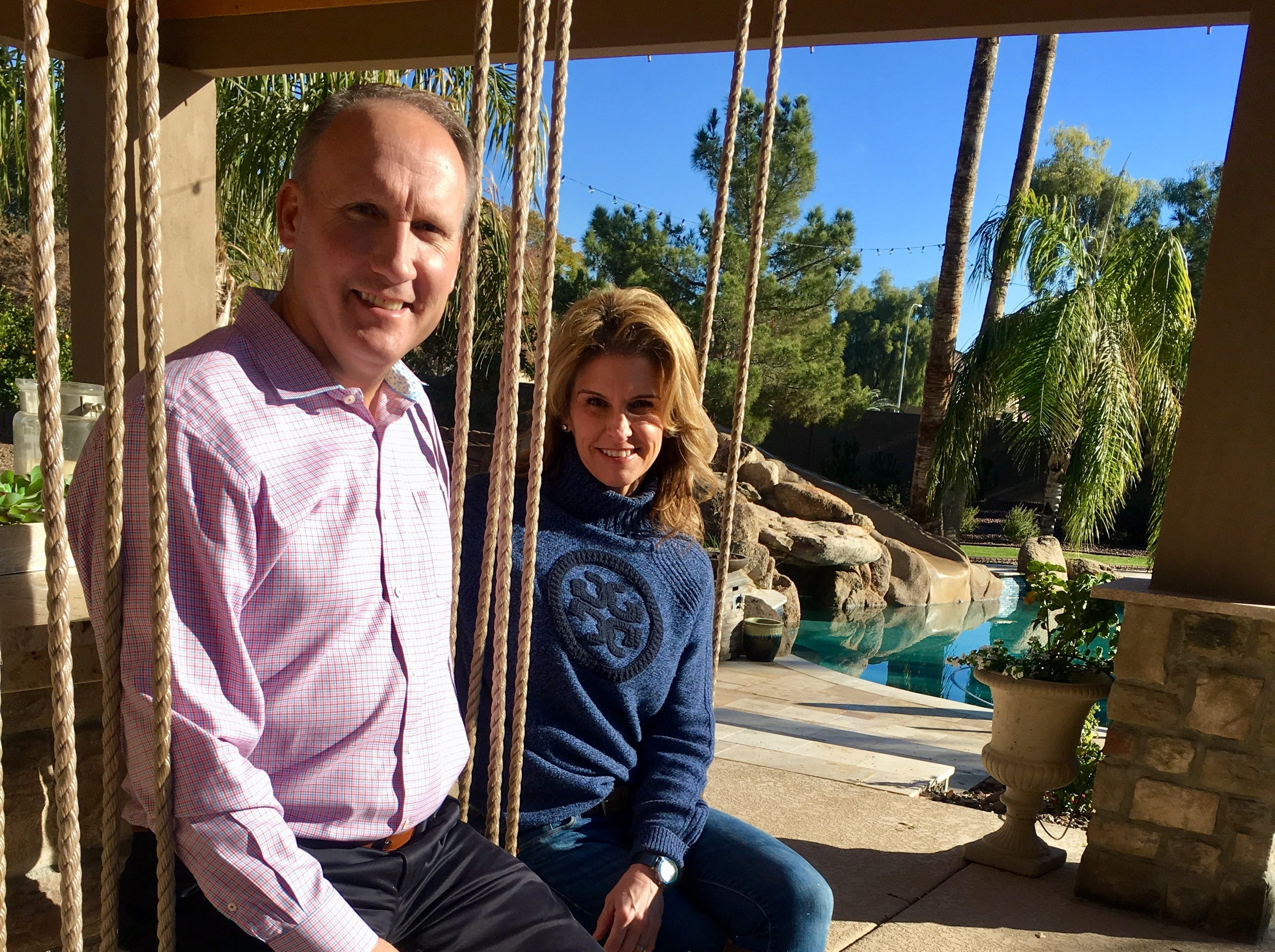 Holly and Todd Revenig purchased their 1999 Chandler home in 2016. Renovations included the poolside ramada and these swings, inspired by a trip to Cancun.