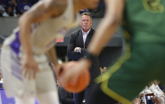 GCU's head coach Dan Majerle watches his team take on Chicago State University during the first half at Grand Canyon University Arena in Phoenix, Ariz. on January 17, 2019.