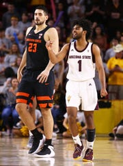 Arizona State Sun Devils guard Remy Martin pumps his fist after a foul bythe Oregon State Beavers in the second half on Jan. 17 at Wells Fargo Arena in Tempe.