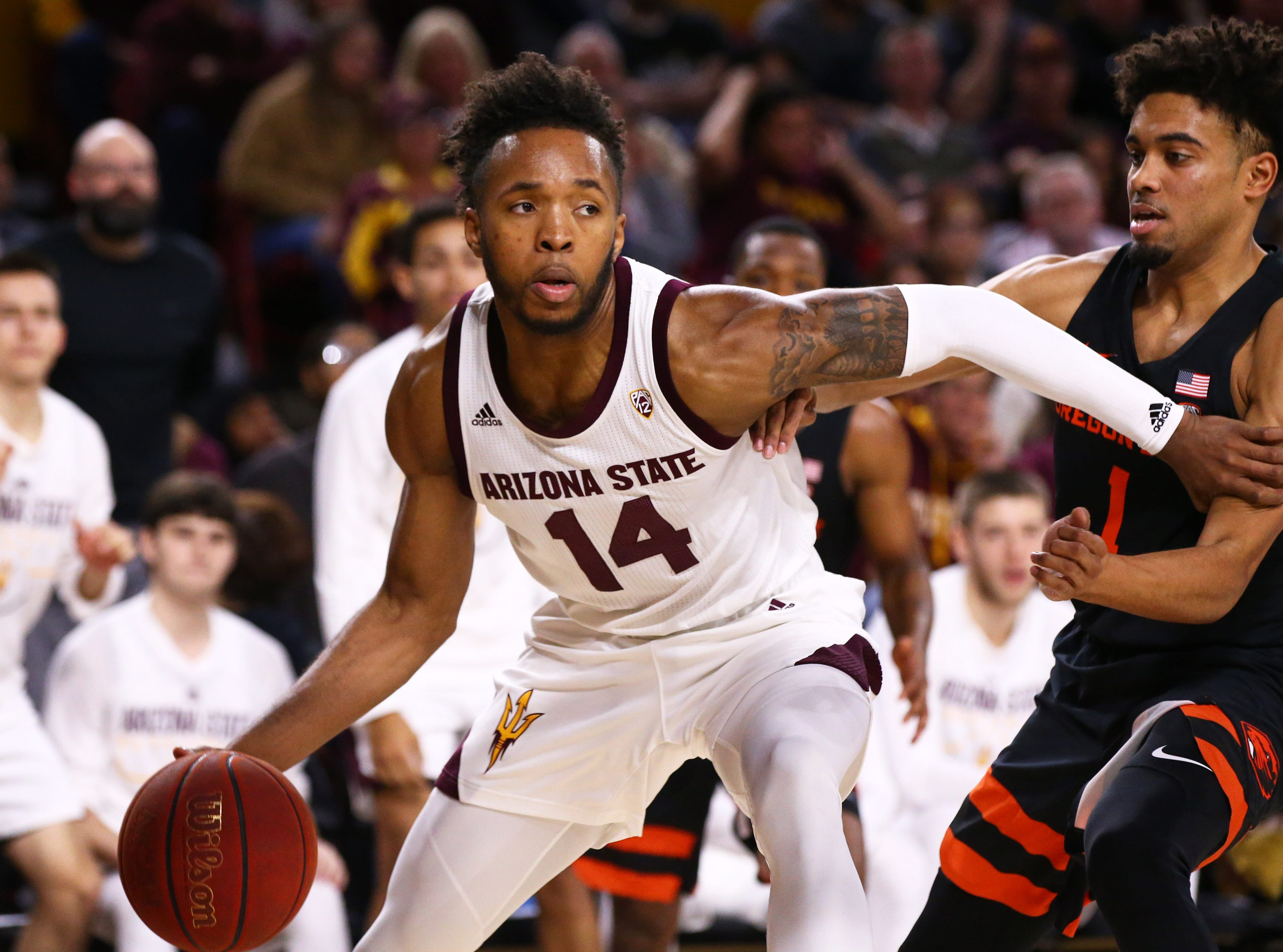 Arizona State Sun Devils forward 	Kimani Lawrence against the Oregon State Beavers in the second half on Jan. 17 at Wells Fargo Arena in Tempe.