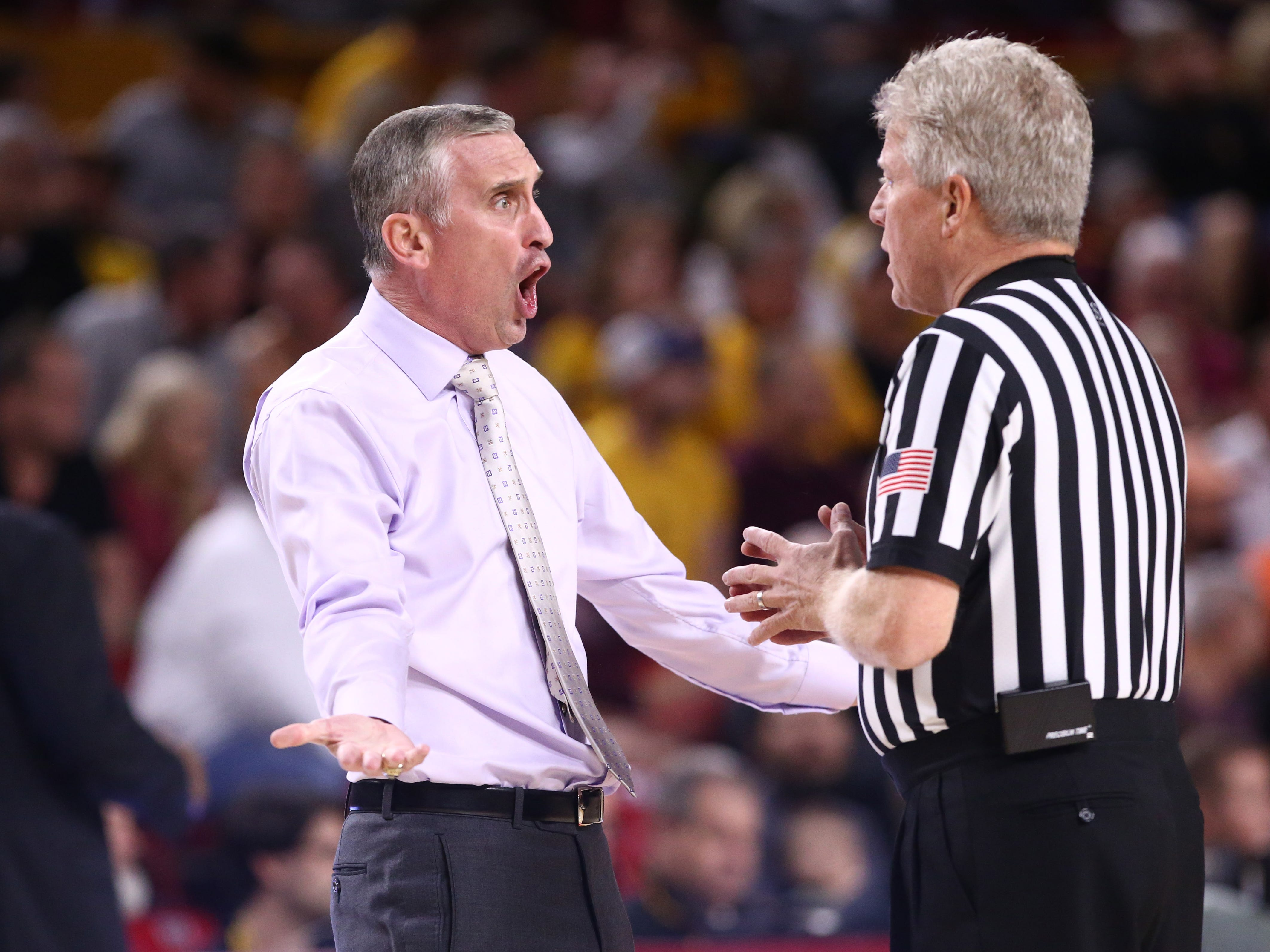 Arizona State Sun Devils head coach Bobby Hurley yells at an offical against the Oregon State Beavers in the first half on Jan. 17 at Wells Fargo Arena in Tempe.