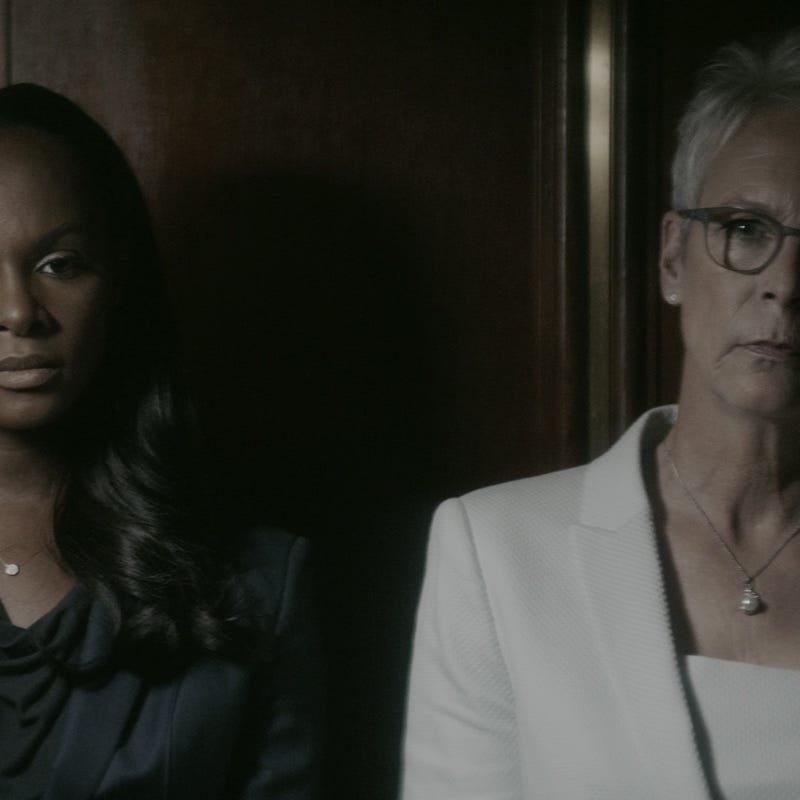 """Tika Sumpter (L) as Elizabeth Lamb and Jamie Lee Curtis as Rachel Burkein in """"An Acceptable Loss."""""""