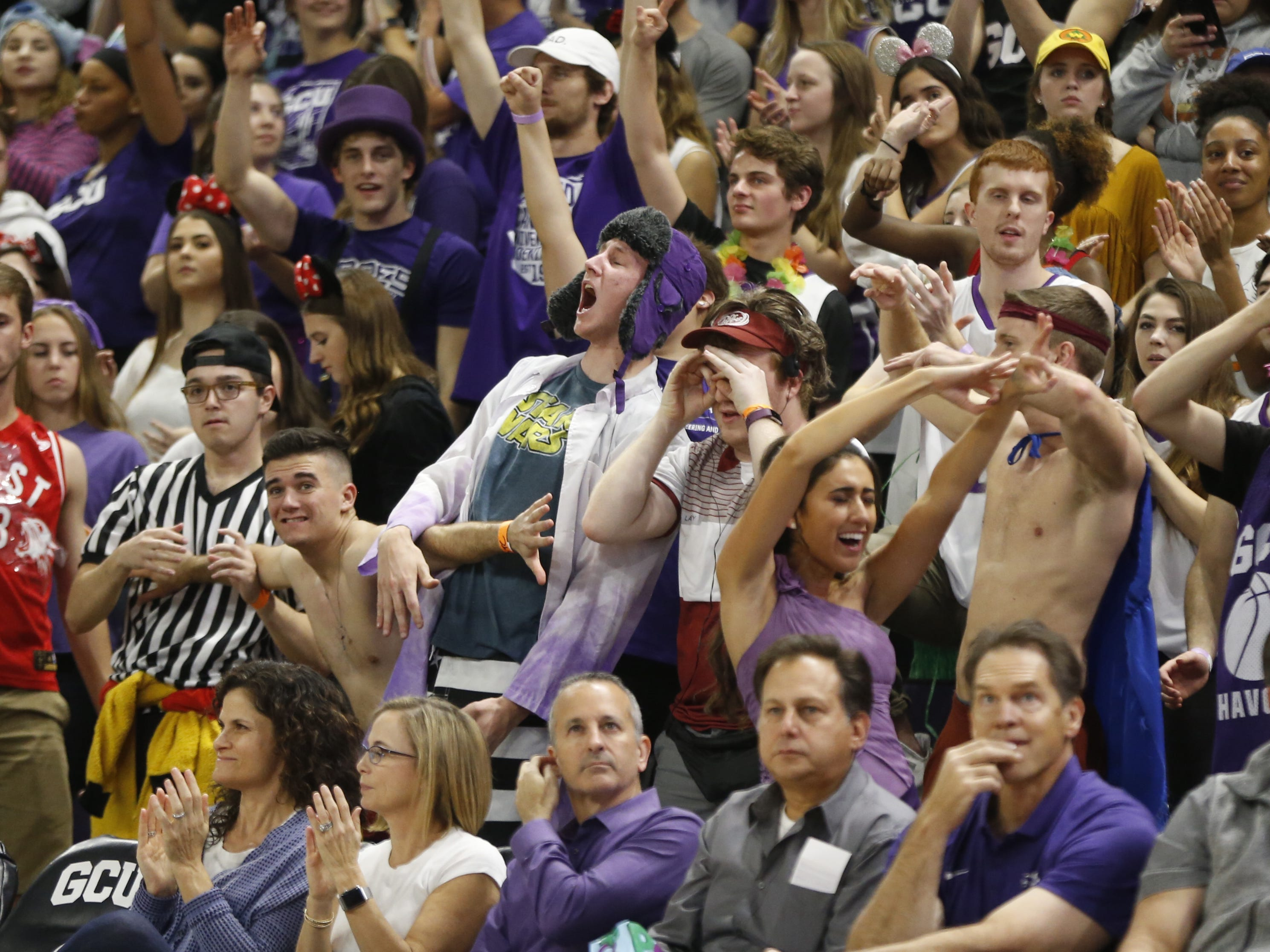 GCU fans react to a dunk against Chicago State University during the first half at Grand Canyon University Arena in Phoenix, Ariz. on January 17, 2019.