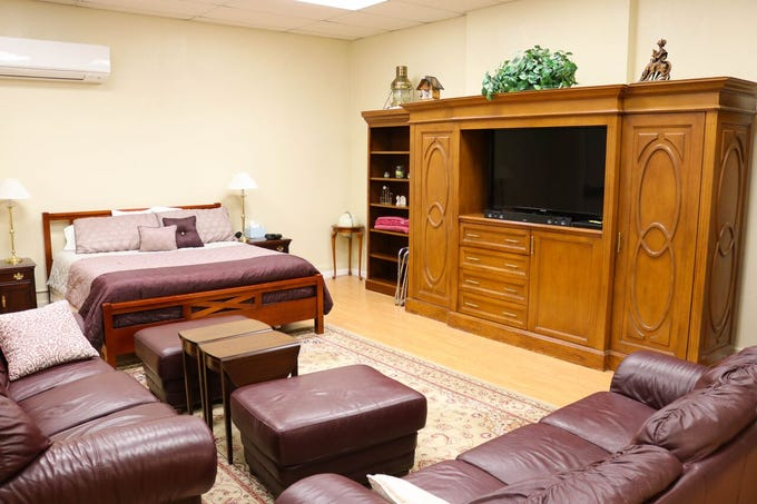 A guest suite in the former Superior High School, which has been converted into a home.