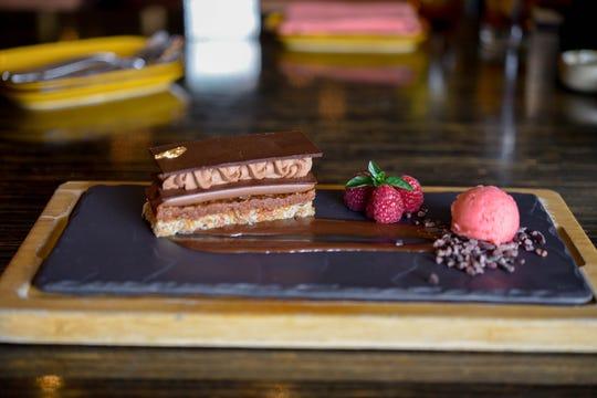 The Peruvian chocolate crunch cake at Toro Latin Restaurant & Rum Bar.