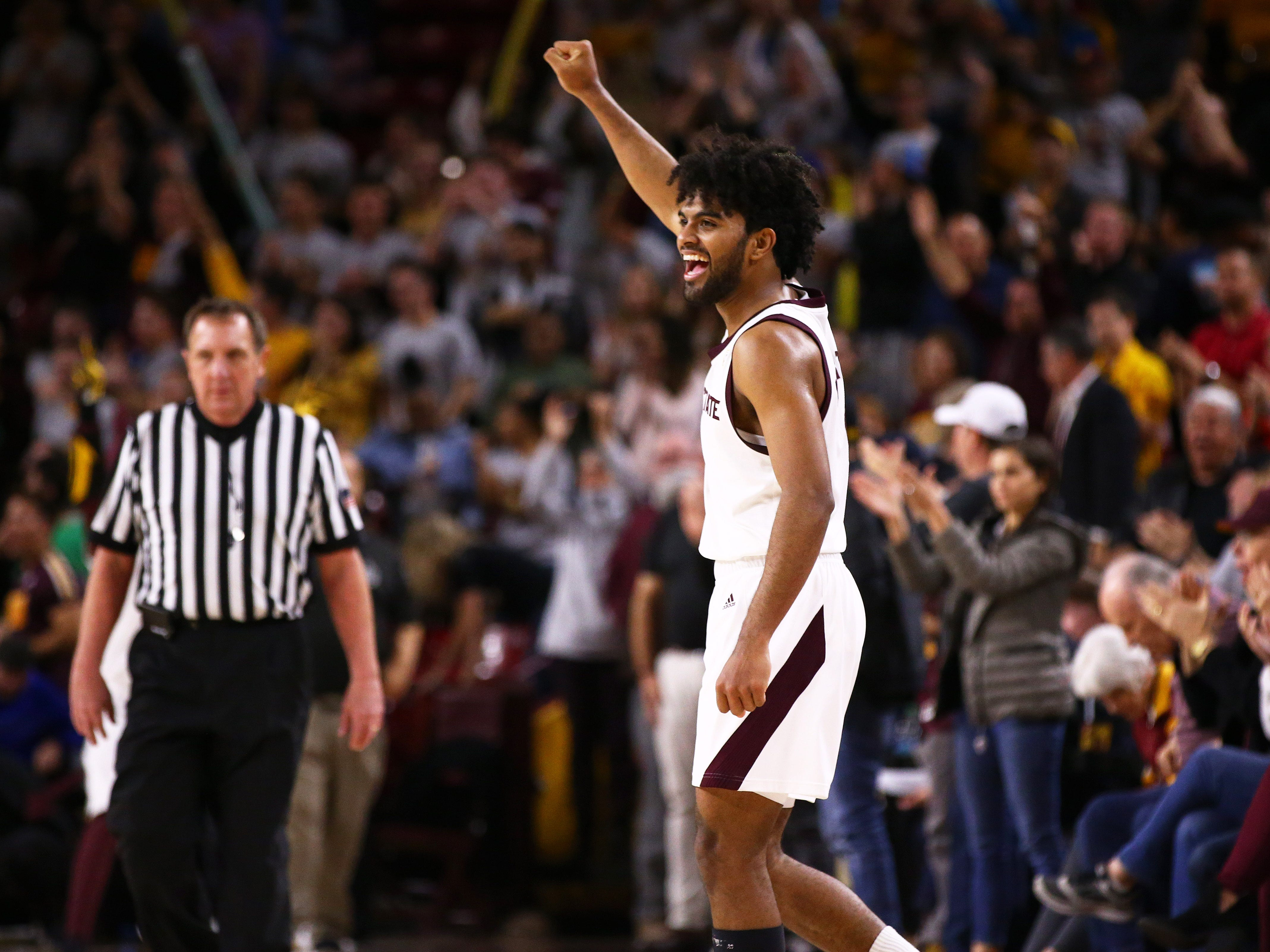 Arizona State Sun Devils guard Remy Martin celebrates their win over the Oregon State Beavers on Jan. 17 at Wells Fargo Arena in Tempe.