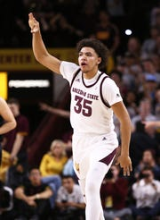 Arizona State Sun Devils forward Taeshon Cherry reacts after making a 3-pointer against the Oregon State Beavers in the first half on Jan. 17 at Wells Fargo Arena in Tempe.