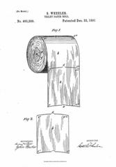 A schematic accompanying the first U.S. patent for a toilet paper holder in 1891, filed by Seth Wheeler of Albany, New York, shows the roll with the edge of toilet paper facing outward.