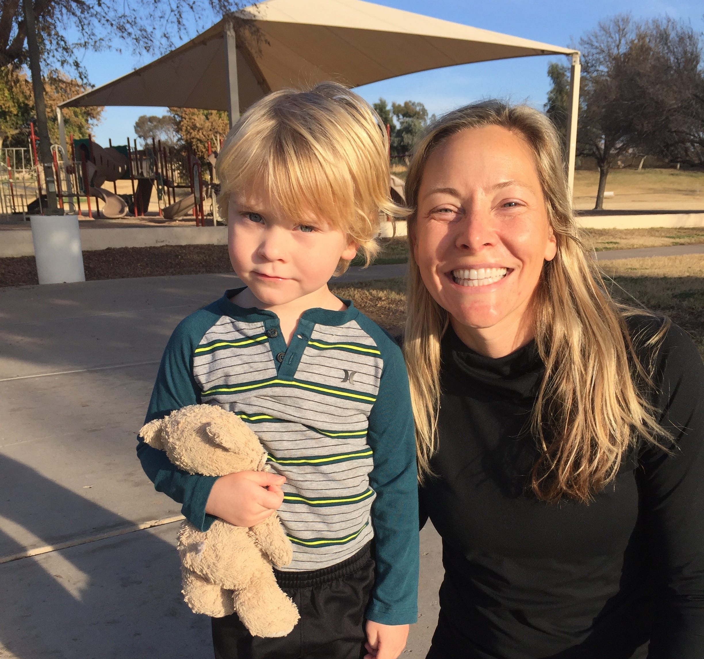 Gina Horne Bernbaum helped to reunite Tommy with Little Teddy after she found the beloved bear at Cactus Park.