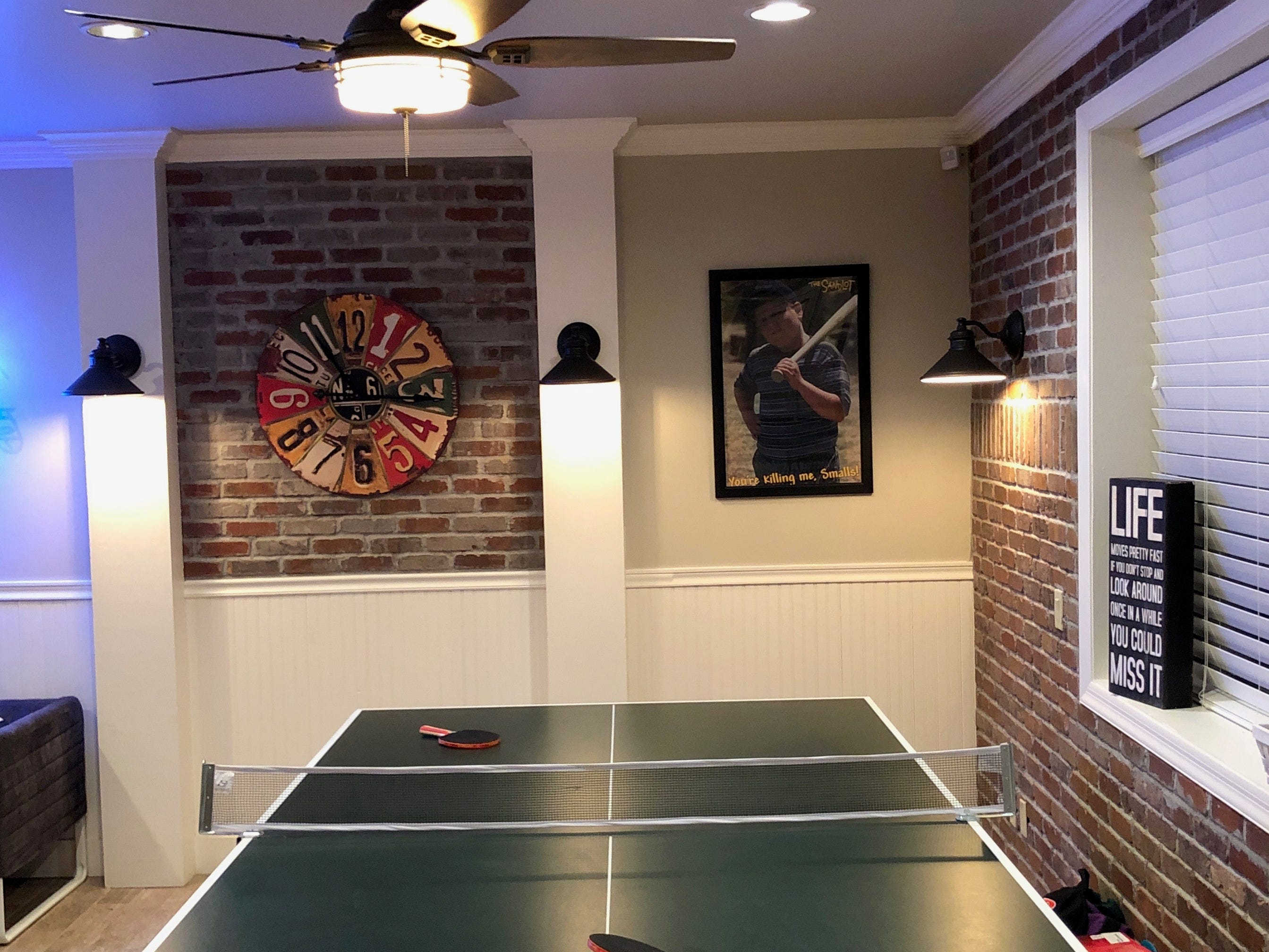 The ping-pong table offers another gaming option.