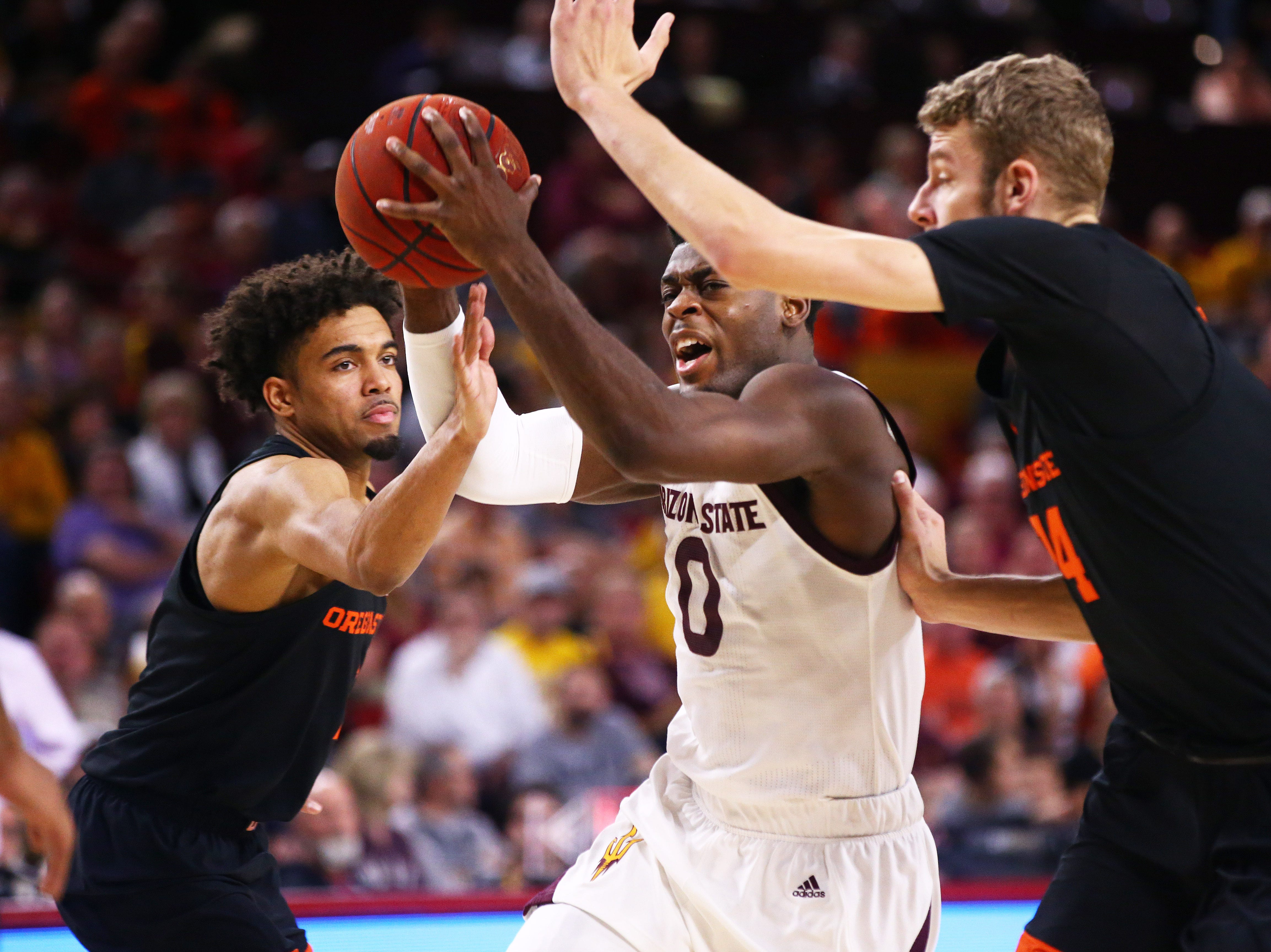 Arizona State Sun Devils guard Luguentz Dort drives to the lane against the Oregon State Beavers in the second half on Jan. 17 at Wells Fargo Arena in Tempe.
