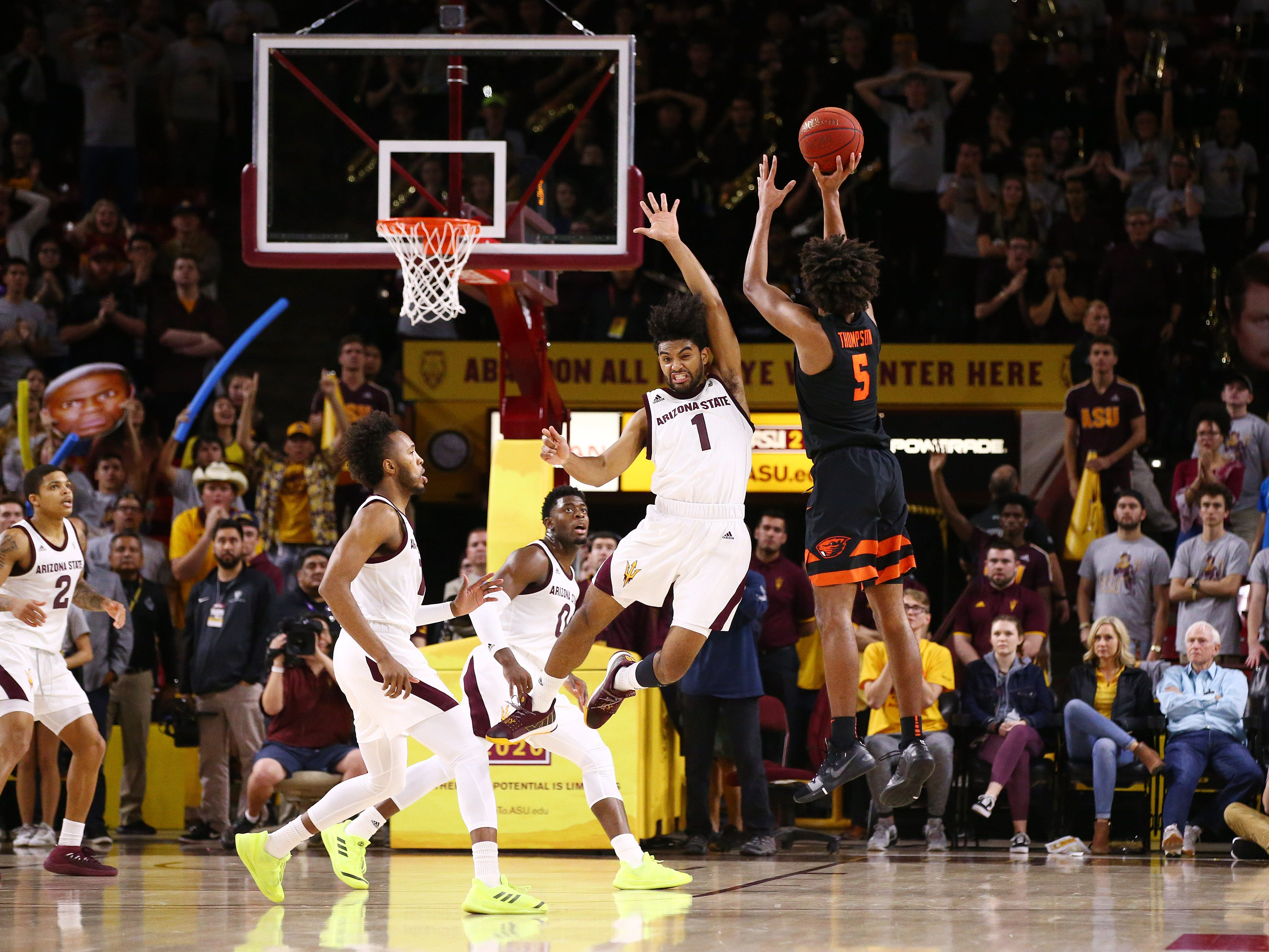 Oregon State Beavers guard Ethan Thompson misses a game tying 3-pointer against the Arizona State Sun Devils to end the game on Jan. 17 at Wells Fargo Arena in Tempe.