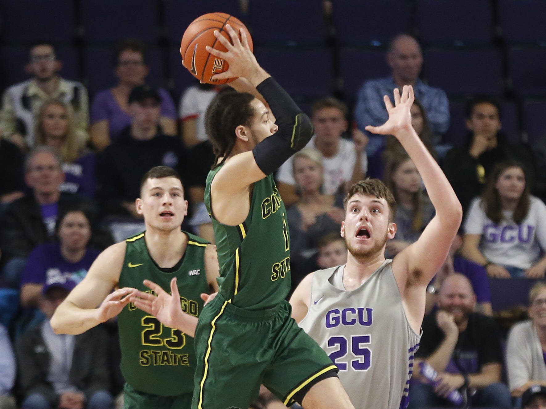 GCU's Alessandro Lever (25) defends Chicago State University's Rob Shaw (1) during the first half at Grand Canyon University Arena in Phoenix, Ariz. on January 17, 2019.