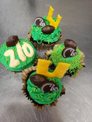 Football themed cupcakes at Ingo's Tasty Food.