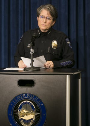 Tempe Police Chief Sylvia Moir holds a press conference on Jan. 18, 2019, addressing the officer-involved shooting of a 14-year-old boy during a suspected car burglary in Tempe.