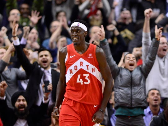 Toronto Raptors forward Pascal Siakam smiles after scoring against the Phoenix Suns during the second half of an NBA basketball game Thursday, Jan. 17, 2019, in Toronto. (Frank Gunn/The Canadian Press via AP)