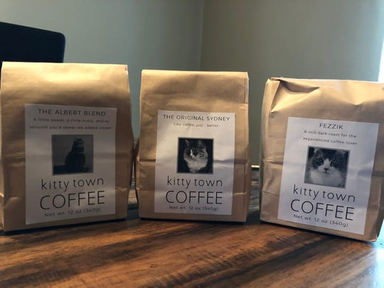 Three of Kitty Town Coffee's blends, The Albert, The Original Sydney and Fezzik, all available for $12 a bag.