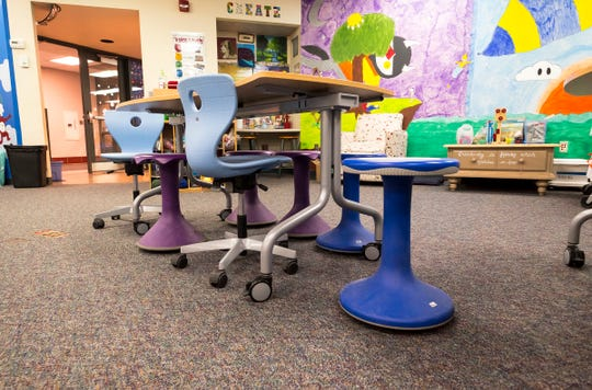 As part of its transformation into a modern lab, Memphis Elementary School replaced the stationary desktop computers and desks with movable furniture and new Chromebooks.