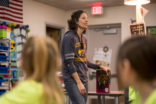 Memphis Elementary teacher Meran Khon speaks in front of a second grade class Friday, Jan. 18, 2019 in the school's library. The school has entered the Follett Challenge, a video entry contest designed to showcase the school's unique media center.
