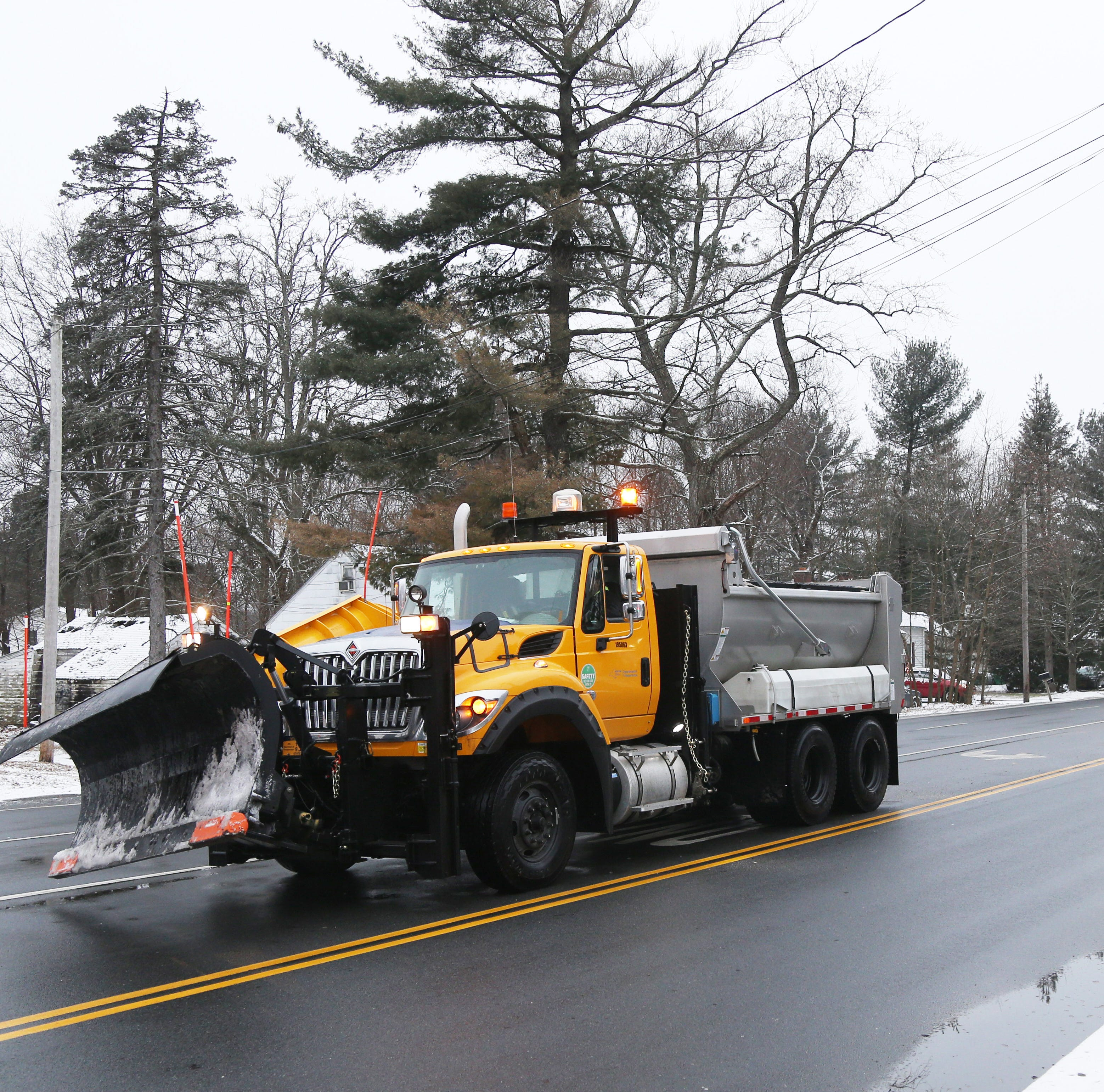 A New York State Department of Transportation snow plow at the intersection of Spackenkill Road and New Hackensack Road in Red Oaks Mill on January 18, 2019.