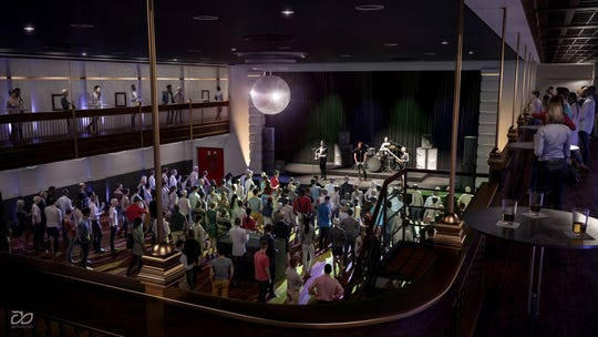 A rendering of the potential live music venue the building could host (Photo courtesy of Royal Square Development & Construction).