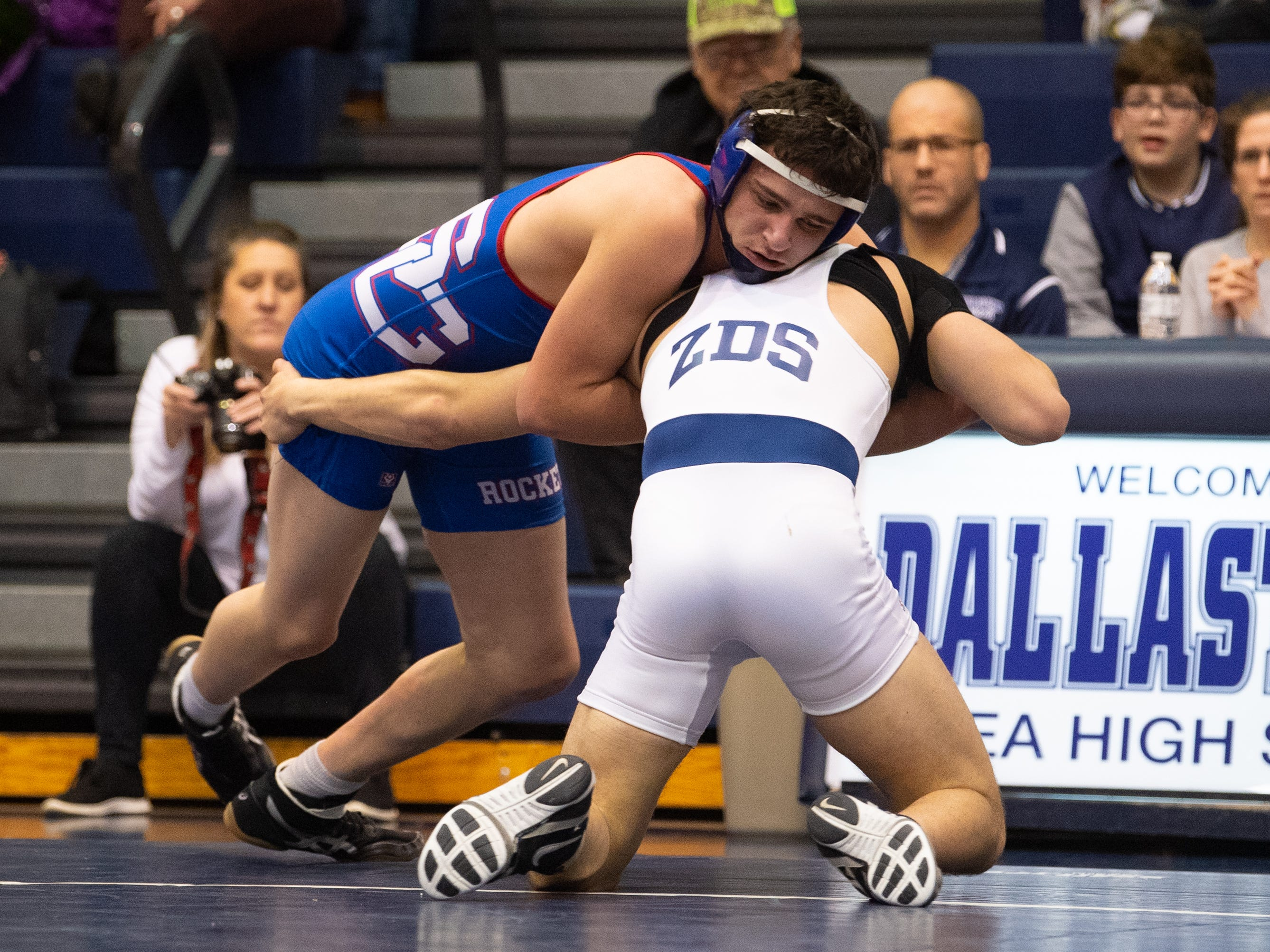 Camden Rice of Spring Grove tries to stay in the wrestling circle during the wrestling dual meet between Dallastown and Spring Grove, January 17, 2019. The Wildcats defeated the Rockets 46-24.