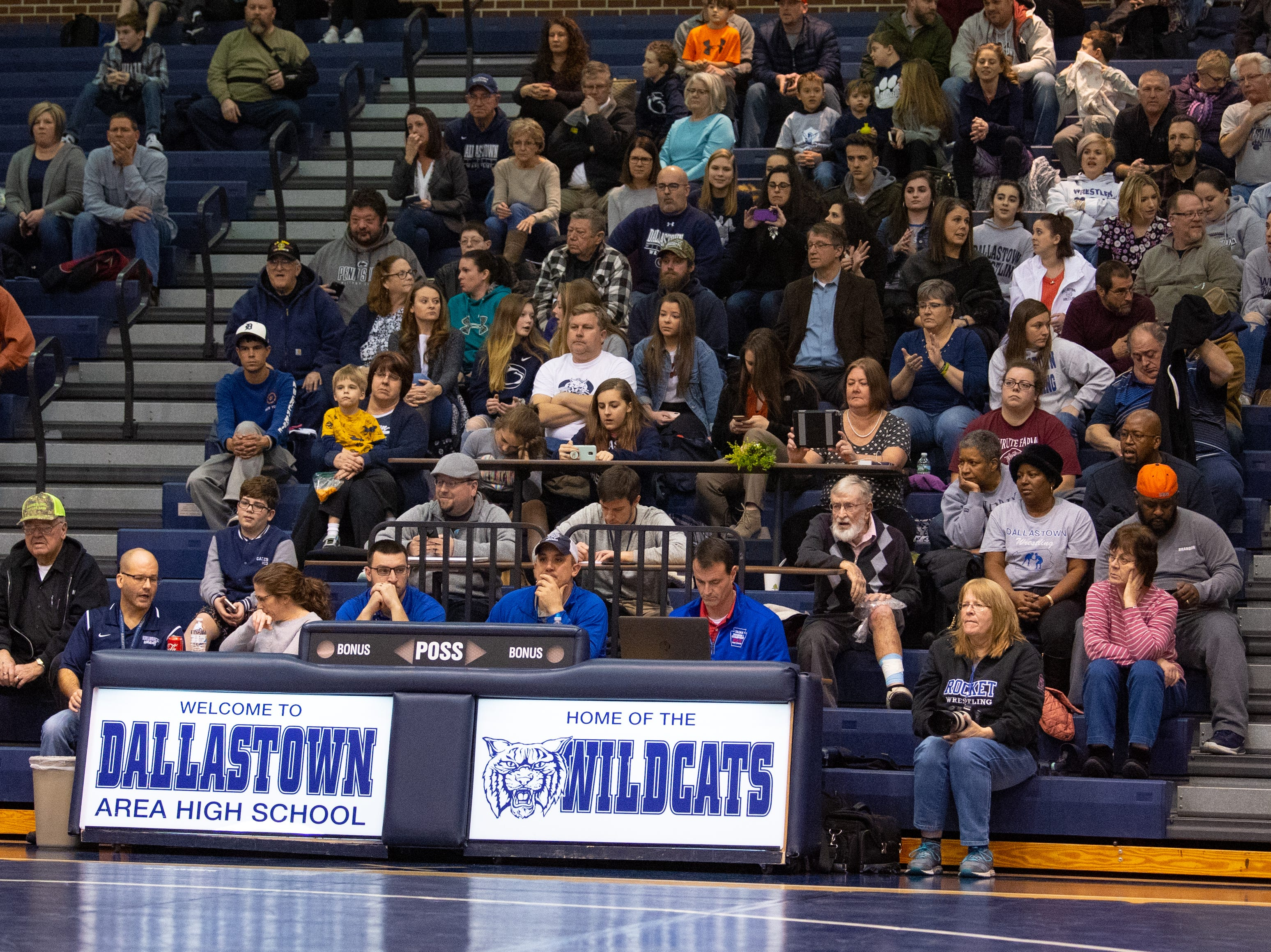 Dallastown Area High School is filled with fans looking forward to seeing good wrestling, January 17, 2019. The Wildcats defeated the Rockets 46-24.
