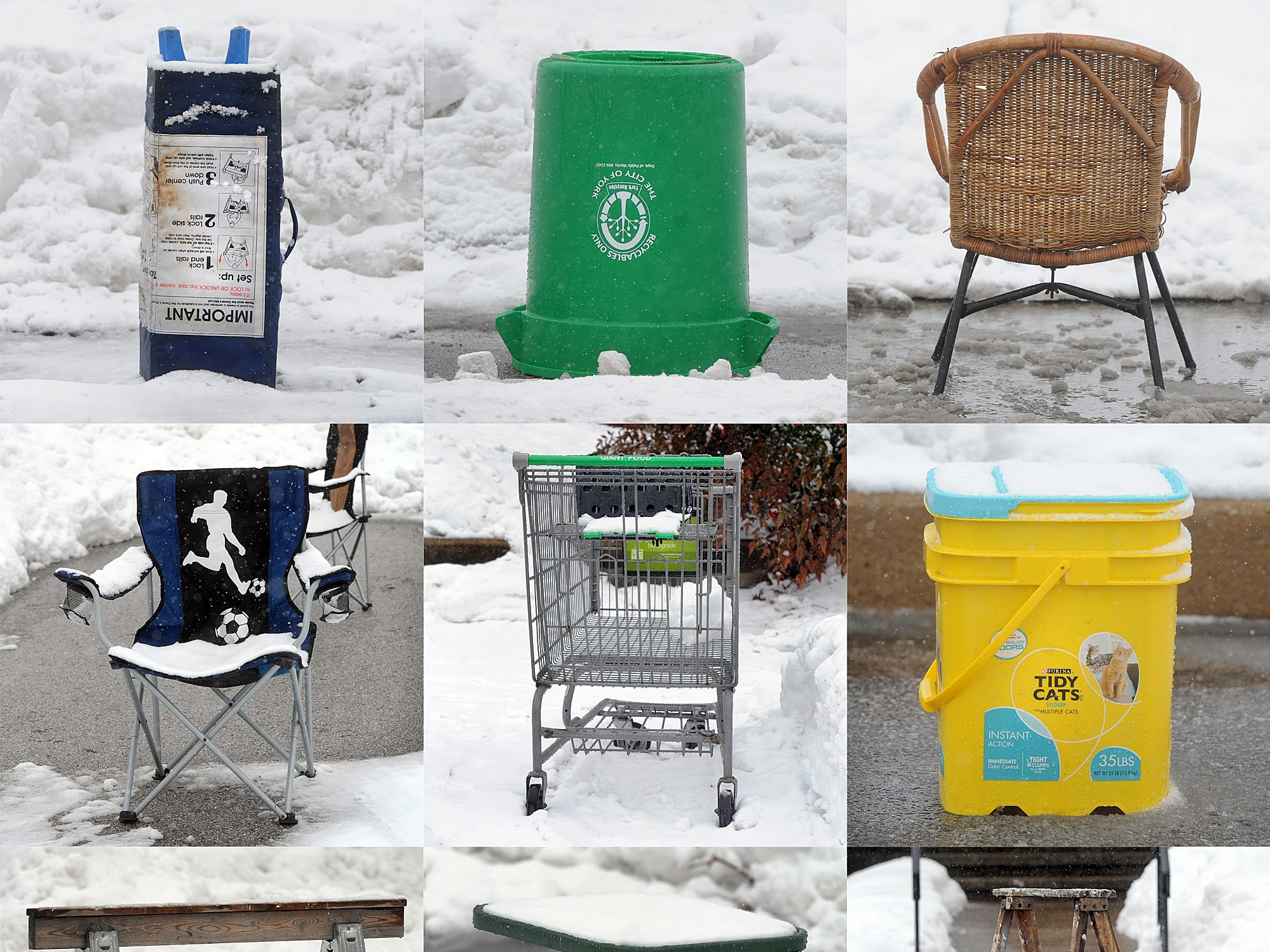 A wide variety of items could be spotted saving parking spots in York on a snow day in 2014.