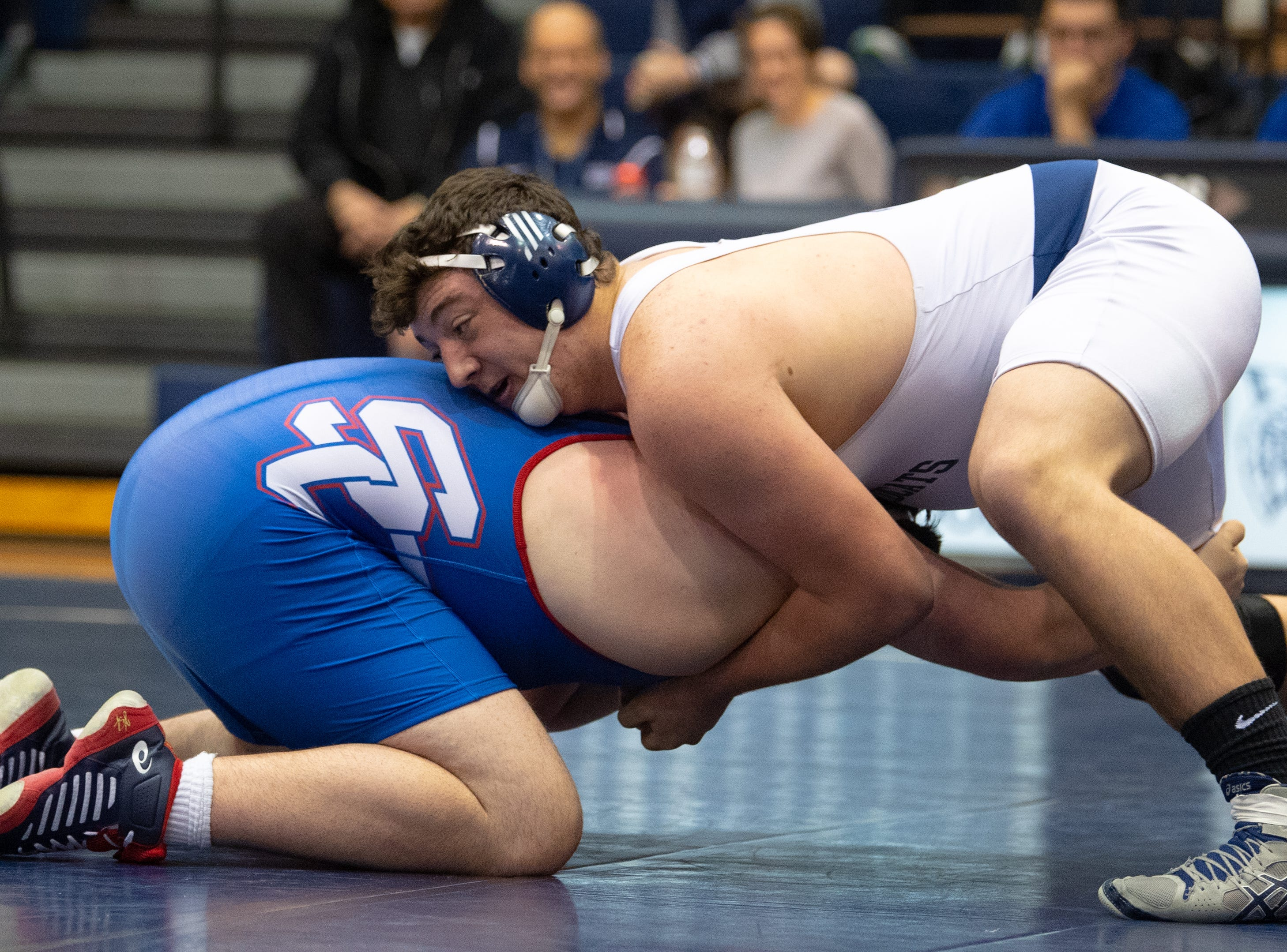 Raymond Christas of Dallastown has the upper hand during the wrestling dual meet between Dallastown and Spring Grove, January 17, 2019. The Wildcats defeated the Rockets 46-24.