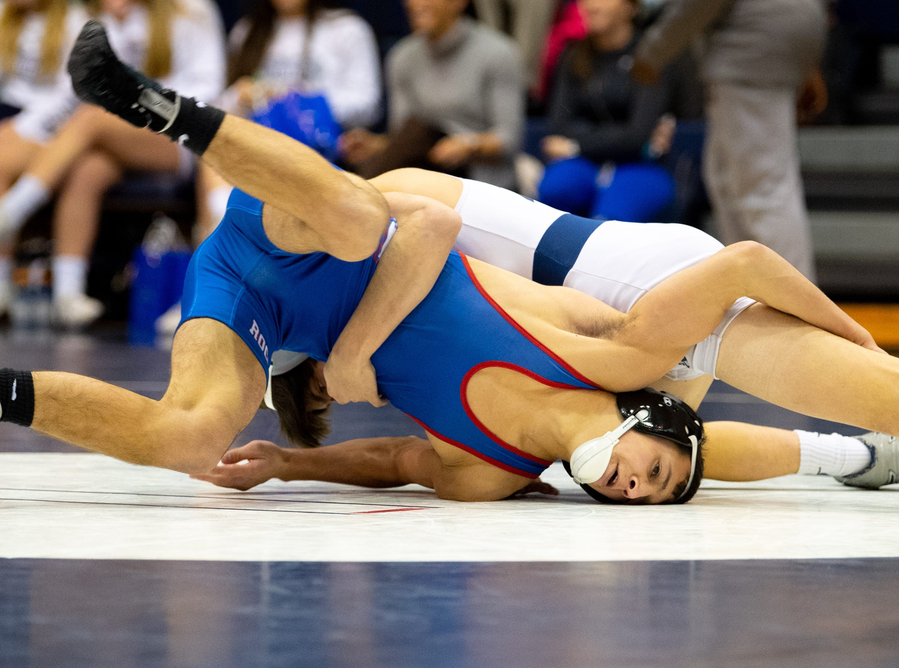 Sam Meyer of Spring Grove tries to break free during the wrestling dual meet between Dallastown and Spring Grove at Dallastown Area High School, January 17, 2019. The Wildcats defeated the Rockets 46-24.