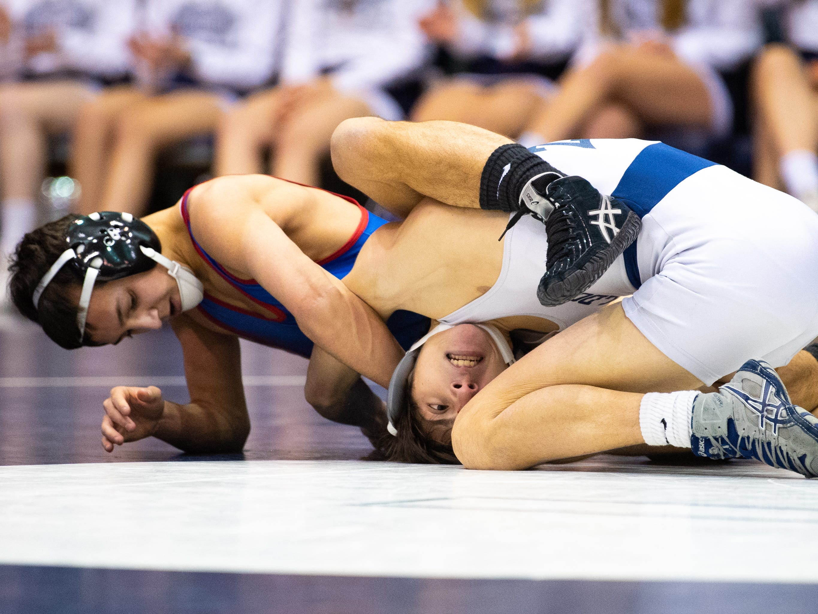 Sam Meyer of Spring Grove controls Dallastown's Adam Karlie during the wrestling dual meet at Dallastown Area High School, January 17, 2019. The Wildcats defeated the Rockets 46-24.
