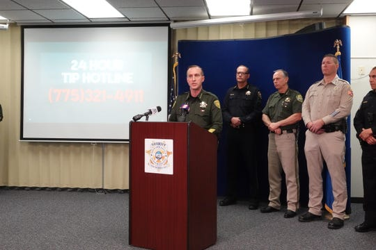 Washoe County Sheriff Darin Balaam speaks at a news conference on Jan. 17, 2019 about the two individuals found murdered in their suburban south Reno home.
