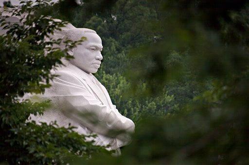 The Martin Luther King Jr. Memorial is seen in morning fog in Washington, Thursday, June 27, 2013.  (AP Photo/J. Scott Applewhite)