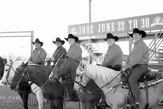 The 2002 Reno Rodeo Association officers were, from left, Jerry David, treasurer; Tom Cates, second vice president; Garry Jackson, president; Jim Carpenter, first vice president and Bill Summy, secretary.