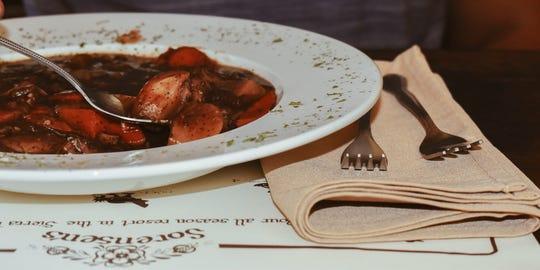 Burgundy beef stew is a signature dish at Sorensen's Resort.