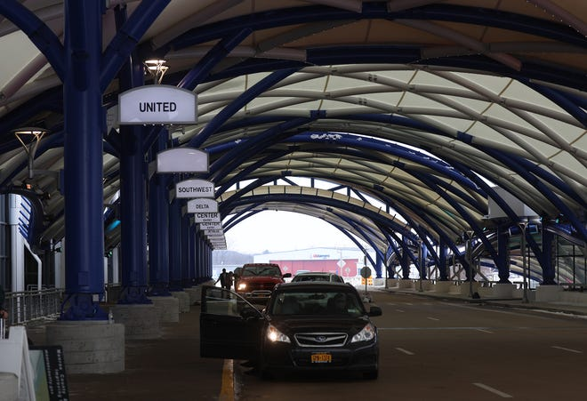 The departure gate has a new awning at the Greater Rochester International Airport.