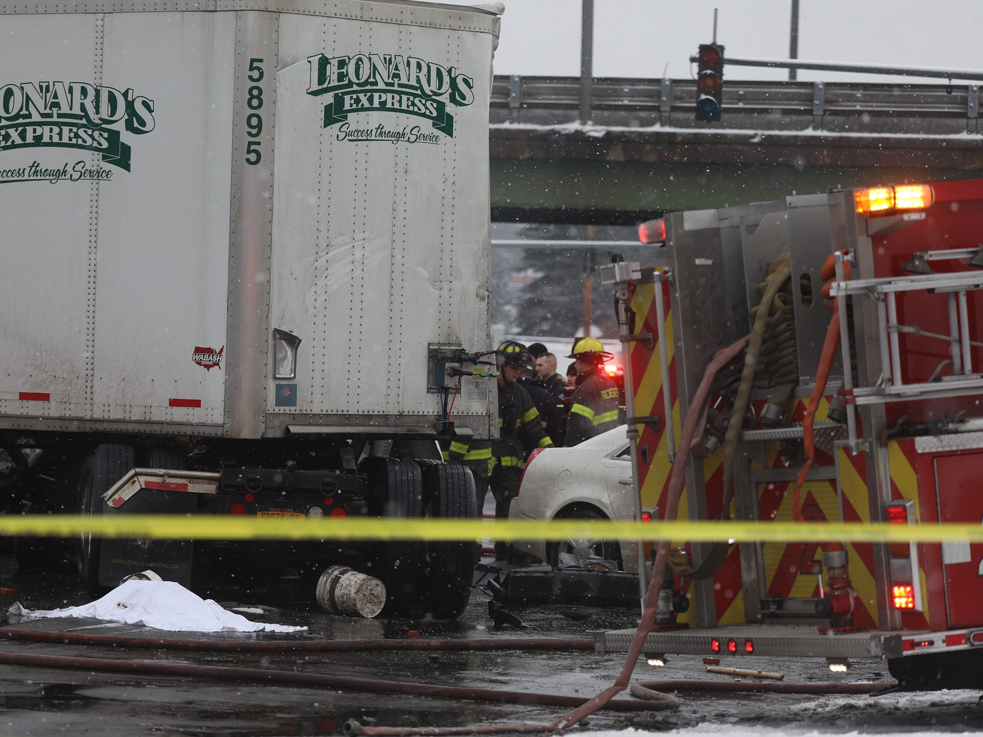 The tracctor trailer driver died on the scene.